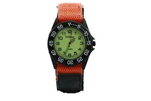 Entino Neu Jungen Herren Sport Armbanduhr Orange Klettverschluss Armband Leuchtendes Ziffernblatt Im Dunklen