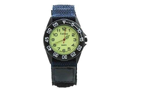 Entino Neu Jungen Herren Sport Armbanduhr Marineblau Klettverschlussn Nylon Armband Leuchtendes Ziffernblatt Im Dunklen