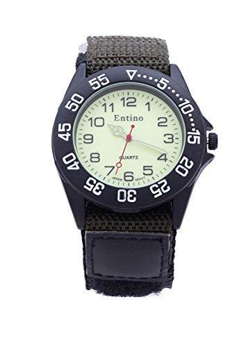 Jungen Herren dunkel gruen Klettverschluss Nylon Strap Sports Watch helles Zifferblatt zusaetzlichen Akku