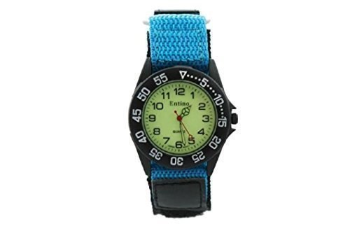 Jungen Herren himmelblau Klettverschluss Nylon Strap Sports Watch helles Zifferblatt zusaetzlichen Akku
