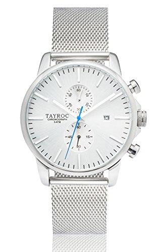 Uhr Herrenuhr TAYROC Iconic Silver Classic Chronograph Edelstahl Quarz Armbanduhr TXM052