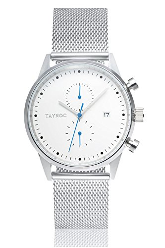 Uhr Herrenuhr TAYROC Boundless Silver Classic Chronograph Edelstahl Quarz Armbanduhr TXM089