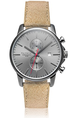 Uhr Herrenuhr TAYROC Iconic Black Classic Chronograph Edelstahl Quarz Lederband Armbanduhr TXM093