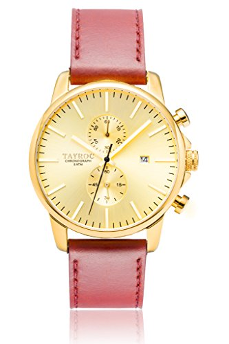 Uhr Herrenuhr TAYROC Iconic Gold Classic Chronograph Edelstahl Quarz Lederband Armbanduhr TXM096