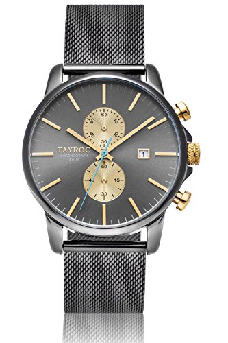 Uhr Herrenuhr TAYROC Iconic Gold Grau Chronograph Edelstahl Quarz Armband TXM095