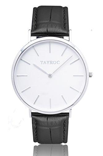 Uhr Herrenuhr TAYROC Classic Weiss Chronograph Edelstahl Quarz Lederarmband TXM006