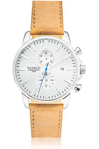 Uhr Herrenuhr TAYROC Iconic Silber Chronograph Edelstahl Quarz Lederarmband TXM091