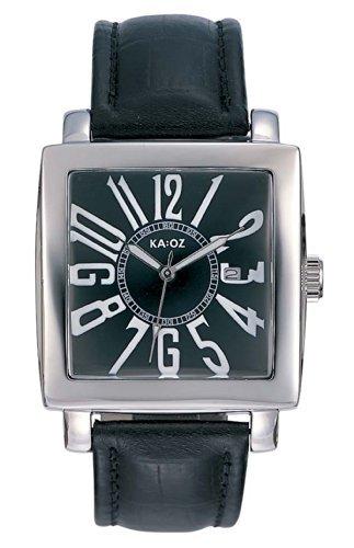 KA OZ Herren Armbanduhr Analog Quarz Schwarz Datum Leder A95118S5A