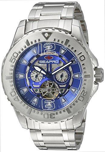 Seapro Herren SP3314 Gezeiten PX1 Analog Display Automatische selbst wind Silber Armbanduhr