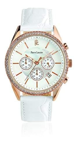 Pierre Lannier 143F990Damen-Armbanduhr-Quarz Analog-Ziffernblatt Perlmutt-Armband Leder Weiss
