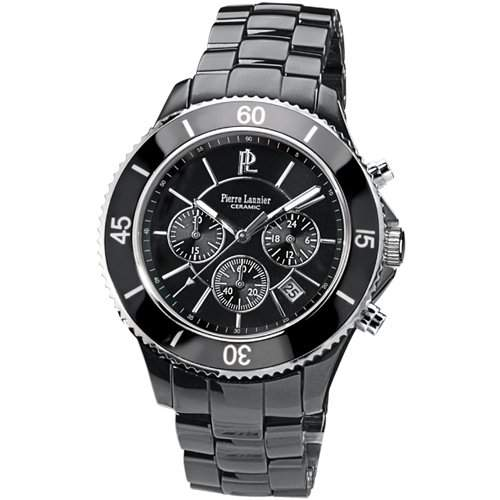 Pierre Lannier Herren-Armbanduhr Chronograph Keramik schwarz 229C439