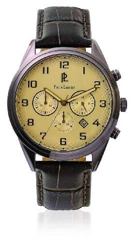 266C424 Pierre Lannier Herren-Armbanduhr Analog Leder Braun