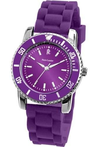 Armbanduhr gemischten Pierre Lannier stahl purpur eng