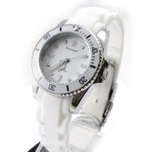 Armbanduhr gemischten Pierre Lannier stahl engen weissen