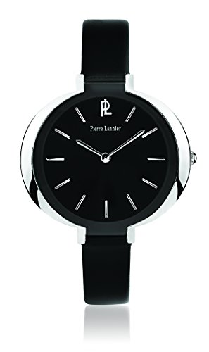 Pierre Lannier 034l633 Week End Linie Pure Damen Armbanduhr Quarz Analog Zifferblatt schwarz Armband Leder schwarz