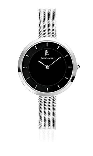 Pierre Lannier 074 K638 Elegance Stil Quarz Analog Zifferblatt schwarz Armband Stahl Silber