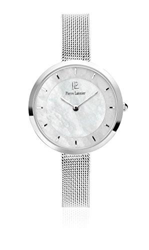Pierre Lannier 074 K698 Elegance Stil Quarz Analog Ziffernblatt Perlmutt Armband Stahl Silber