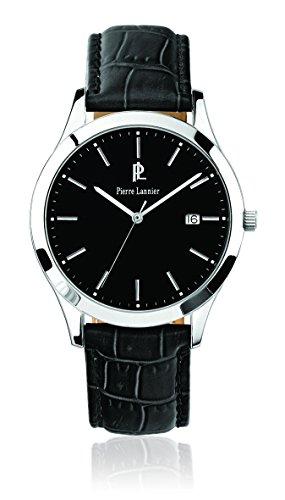 Pierre Lannier 230 C133 Elegance Classic Armbanduhr Quarz Analog Zifferblatt schwarz Armband Leder schwarz