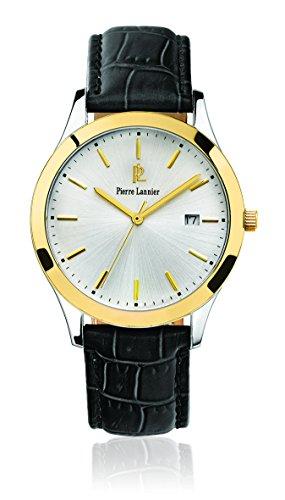 Pierre Lannier 231 G023 Elegance Classic Armbanduhr Quarz Analog Zifferblatt Silber Armband Leder Schwarz
