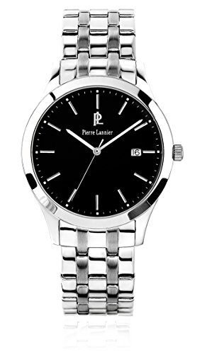 Pierre Lannier 248 C131 Elegance Classic Armbanduhr Quarz Analog Zifferblatt schwarz Armband Stahl Silber