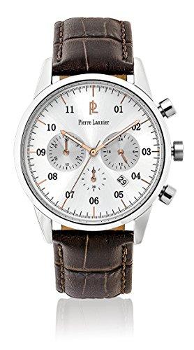 Pierre Lannier 223d124 Week End Vintage Armbanduhr Quarz Chronograph Zifferblatt Silber Armband Leder braun