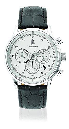 Pierre Lannier 224 G123 Armbanduhr Quarz Chronograph Zifferblatt Silber Armband Leder Schwarz