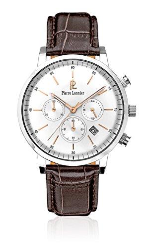 Pierre Lannier 213 C124 Week End Vintage Armbanduhr Quarz Chronograph Zifferblatt Silber Armband Leder braun