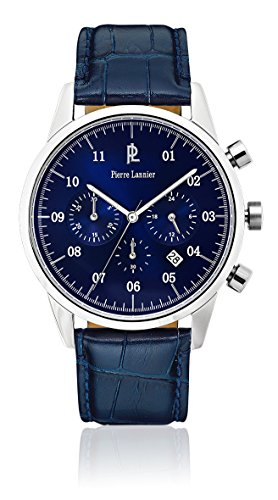 Pierre Lannier 223d166 Week End Vintage Armbanduhr Quarz Chronograph Zifferblatt Blau Armband Leder Blau