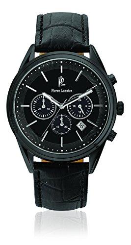 Pierre Lannier 272 Elegance Chrono Armbanduhr Quarz Chronograph Schwarzes Ziffernblatt Armband Leder Schwarz