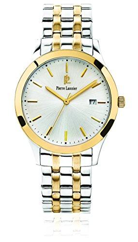 Pierre Lannier 247 G021 Elegance Classic Armbanduhr Quarz Analog Zifferblatt Silber Armband Stahl vergoldet zweifarbig