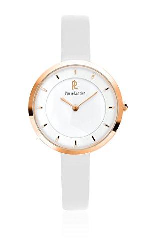Pierre Lannier 075j900 Elegance Stil Damen Armbanduhr Quarz Analog Weisses Ziffernblatt Armband Leder Weiss