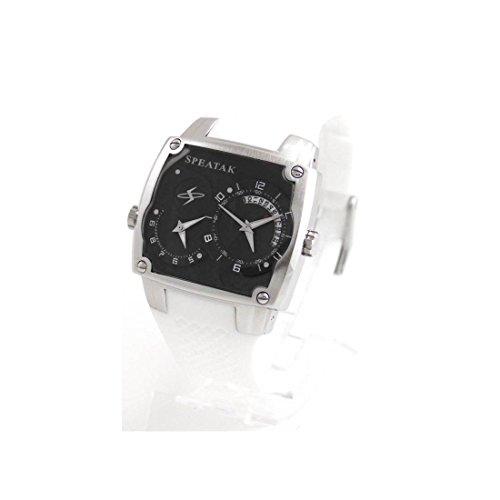 Armbanduhr Herren dble cadran Armband Silikon weiss Speatak 629