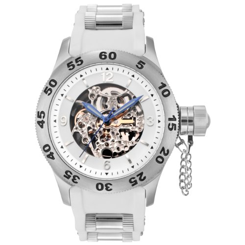 Rougois Automatic Skeleton Dial Diver Watch with White Band