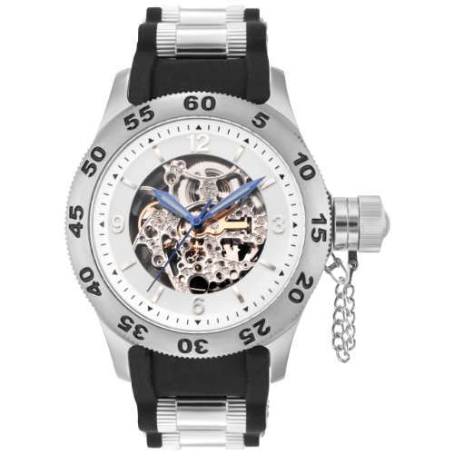 Rougois Automatic Skeleton Naval Officer Diver Watch Black Band