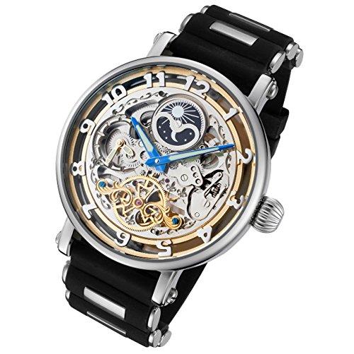 Rougois Automatische Skelett Untergang Armbanduhr mit Silikon Band