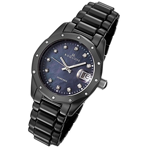 Rougois Black Ceramic Watch with 23 Diamonds and Mother of Pearl Dial
