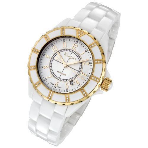 Rougois White Ceramic Watch with Yellow Gold Trim and 36 Genuine Diamonds