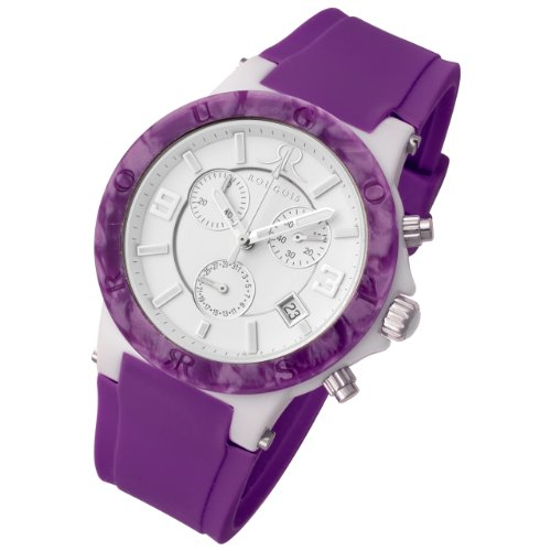 Rougois Pop Series Chronograph Watch Purple Colorful Silicone Band