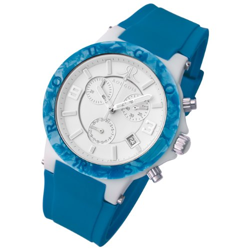 Rougois Pop Series Chronograph Watch Blue Colorful Silicone Band