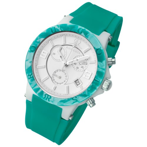 Rougois Pop Series Chronograph Watch Green Colorful Silicone Band