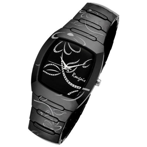 Rougois Ladies Bloom Series Black Ceramic Silver Trim Watch