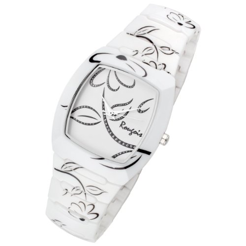 Rougois Ladies Bloom Series White Ceramic Watch