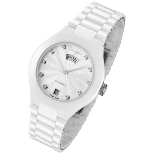 Rougois Ladies White Ceramic Dress Watch With Diamonds