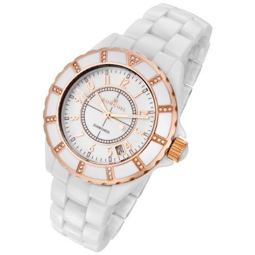 Rougois High Tech White Ceramic Watch with 36 Genuine Diamonds