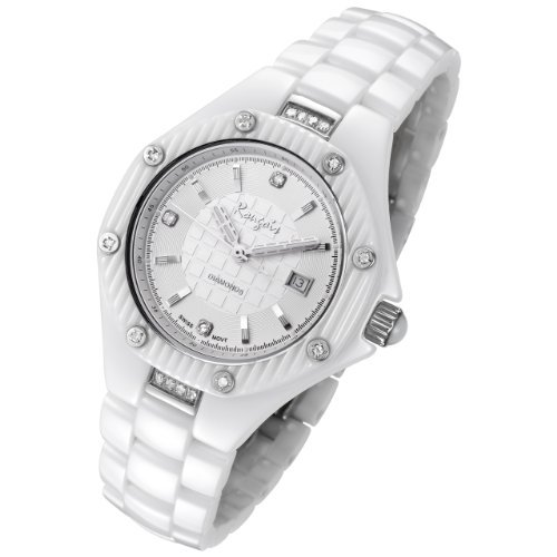Rougois White Ceramic Watch with 19 Genuine Diamonds