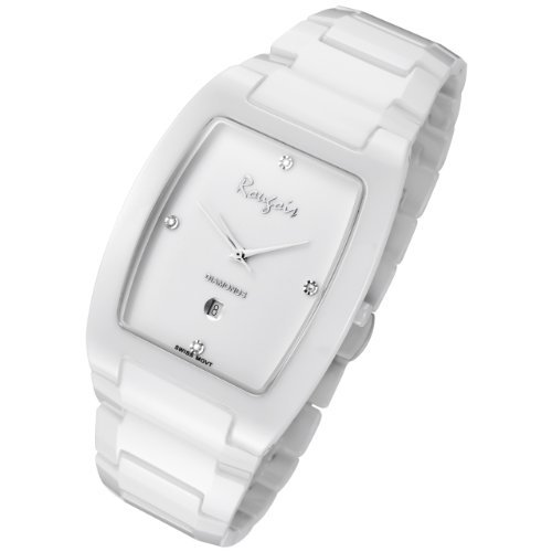 Rougois White Ceramic Watch with Genuine Diamonds