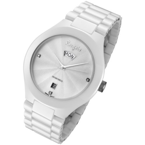 Rougois Mens White Ceramic Watch with Genuine Diamonds