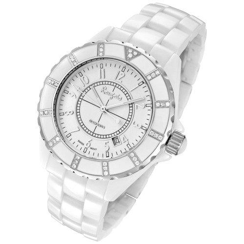 Rougois Womens White Ceramic Watch with 36 Genuine Diamonds