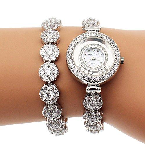 Damen Edelstahl Uhren Weiss Topaz Armband mit eleganten Lucky Handgelenk Uhren H201
