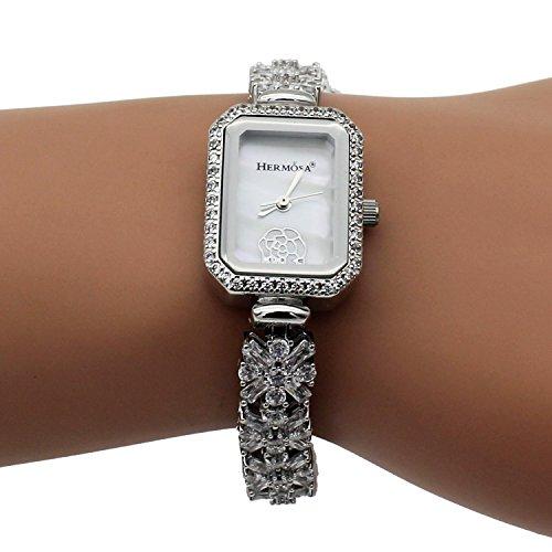 Weiss Topas Damen Uhren Japan Quarzwerk Analog Lady Fashion Luxus Armband Armbanduhr H258